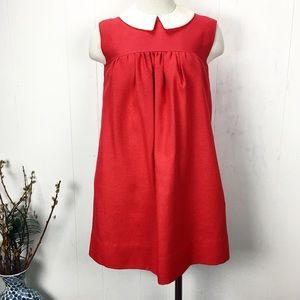 Vintage Mod Babydoll Dress Peter Pan Collar Red